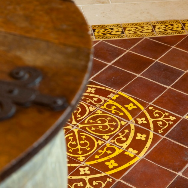 Cuckfield Church, Encaustic Floor around Font