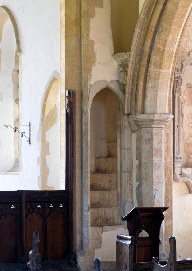 The spiral staircase and pulpit